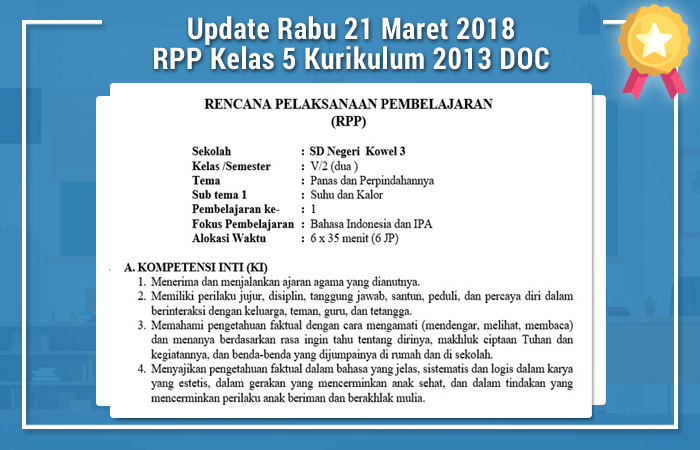 Update Rabu 21 Maret 2018 RPP Kelas 5 Kurikulum 2013 DOC