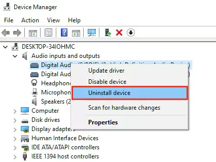 Device Manager حذف درايفر