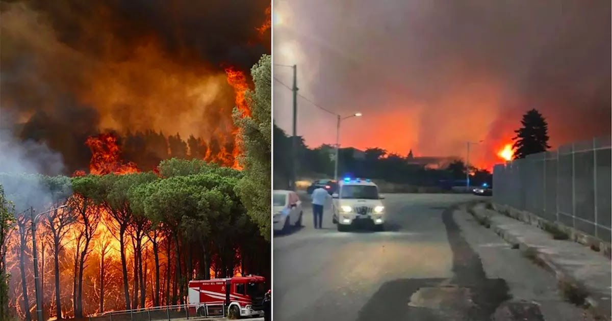 Locals Evacuate East Of Rome As Wildfires Rage In Italy