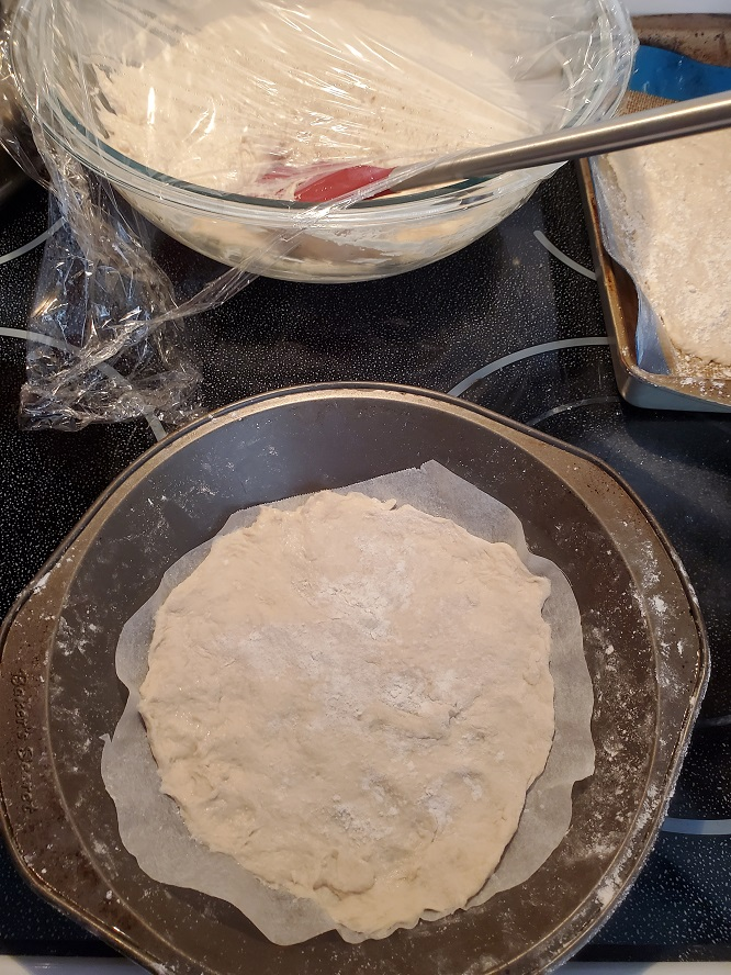 easy no knead pizza dough in a round pan rising