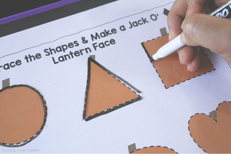 tracing shapes math worksheets