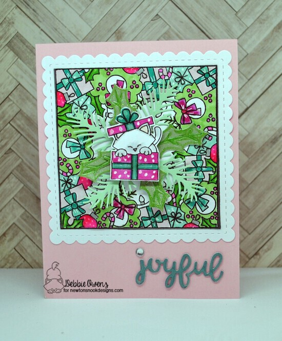 Joyful by Debbie features Holiday Fringe, Purr-fect Present, Pines & Holly, Main Street Christmas, and Frames Squared by Newton's Nook Designs; #newtonsnook