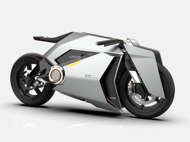 Aether Futuristic 2035 Air Cleaning Electric Motorcycle Concept
