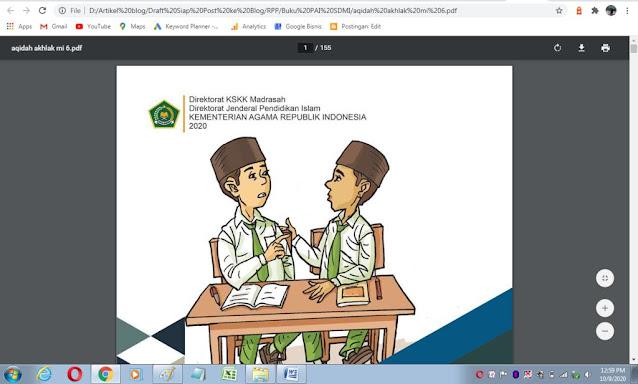 Buku akidah akhlak kelas 6 mi sesuai kma 183 tahun 2019 kurikulum PAI
