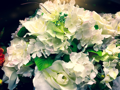 Artificial white flowers stock image