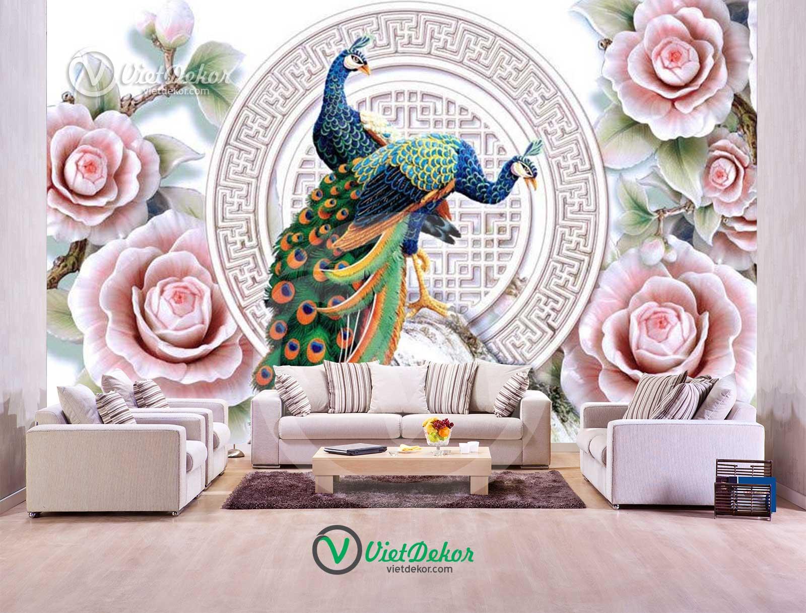 Tranh dán tường 3d hoa mẫu đơn khổng tước