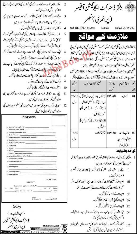 Jobs in the Department of Education Sind 2021 - Latest job postings 2021