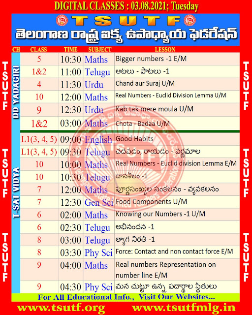 03.08.2021(Tuesday) DD Yadagiri and T SAT Schedule and Work Sheets