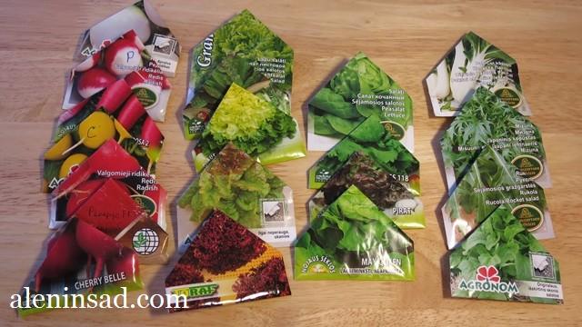 сорта редиса, салата, рукколы, пак чой, для посева в апреле в теплицу, аленин сад, семена
