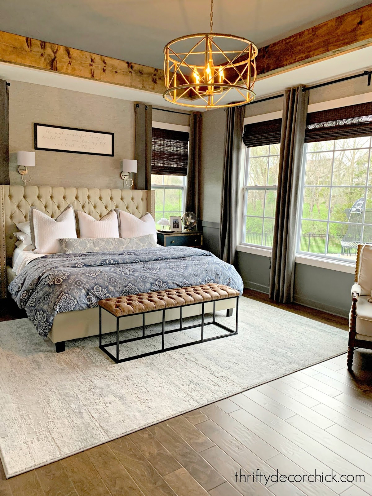 Gray and stained wood master bedroom