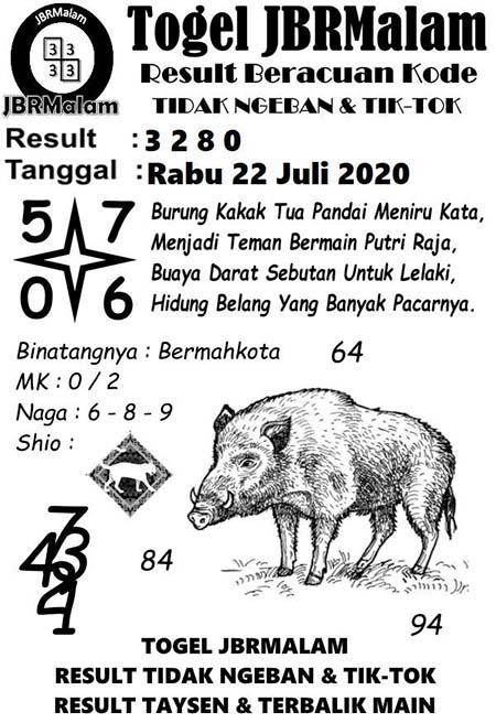 JBR Malam HK Rabu 22 Juli 2020