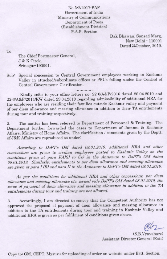 Regarding Clarification of Special Concession to Central Government Employees working in Kashmir Valley in Attached or subordinate offices or PSUs falling under the control of Central Government