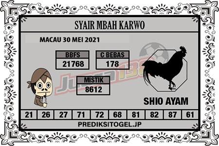 Syair Mbah Karwo Togel Macau Minggu 30 Mei 2021
