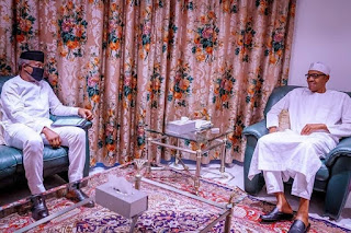 President Buhari Laughs As Masked Osinbajo Meets Him For Briefing (Photos)