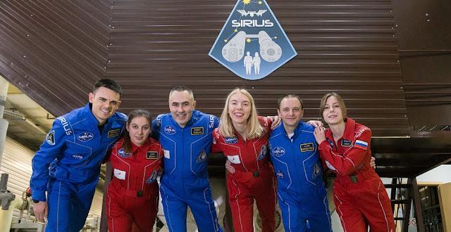 SIRIUS-19 crew. From left to right: Reinhold Povilaitis (USA), Daria Zhidova (Russia), Commander Yevgeny Tarelkin (Russia), Anastasia Stepanova (Russia), Allen Mirkadyrov (USA) and Stephania Fedeye (Russia). Credit: IBMP
