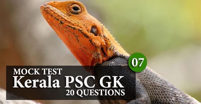 Kerala PSC GK   20 Question Mock Test   Set - 7
