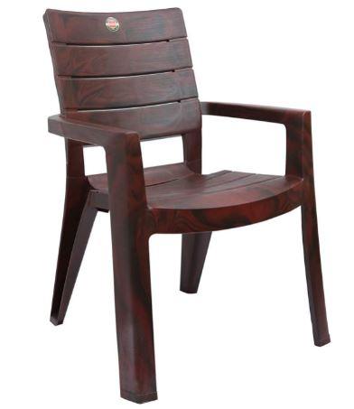 Cello Jordan Plastic Arm Rest Full Back Chair (Rose Wood) - Set of 2