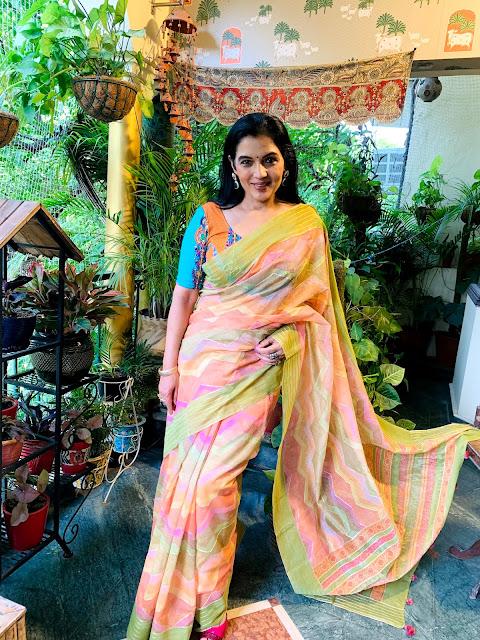 Chanderi multicolour saree with gota patti