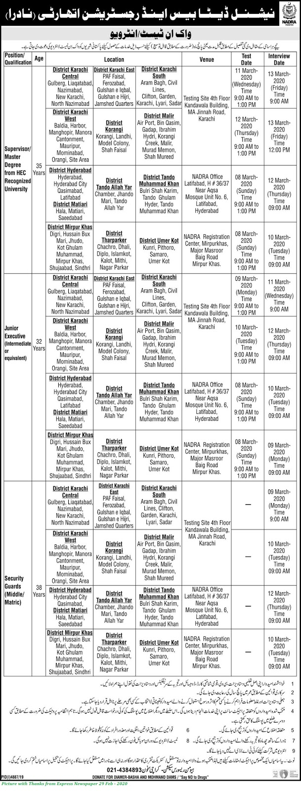 Nadra Karachi Region Jobs 2020 - Latest Jobs in Nadra for Males & Females in Various Cities of Karachi Region