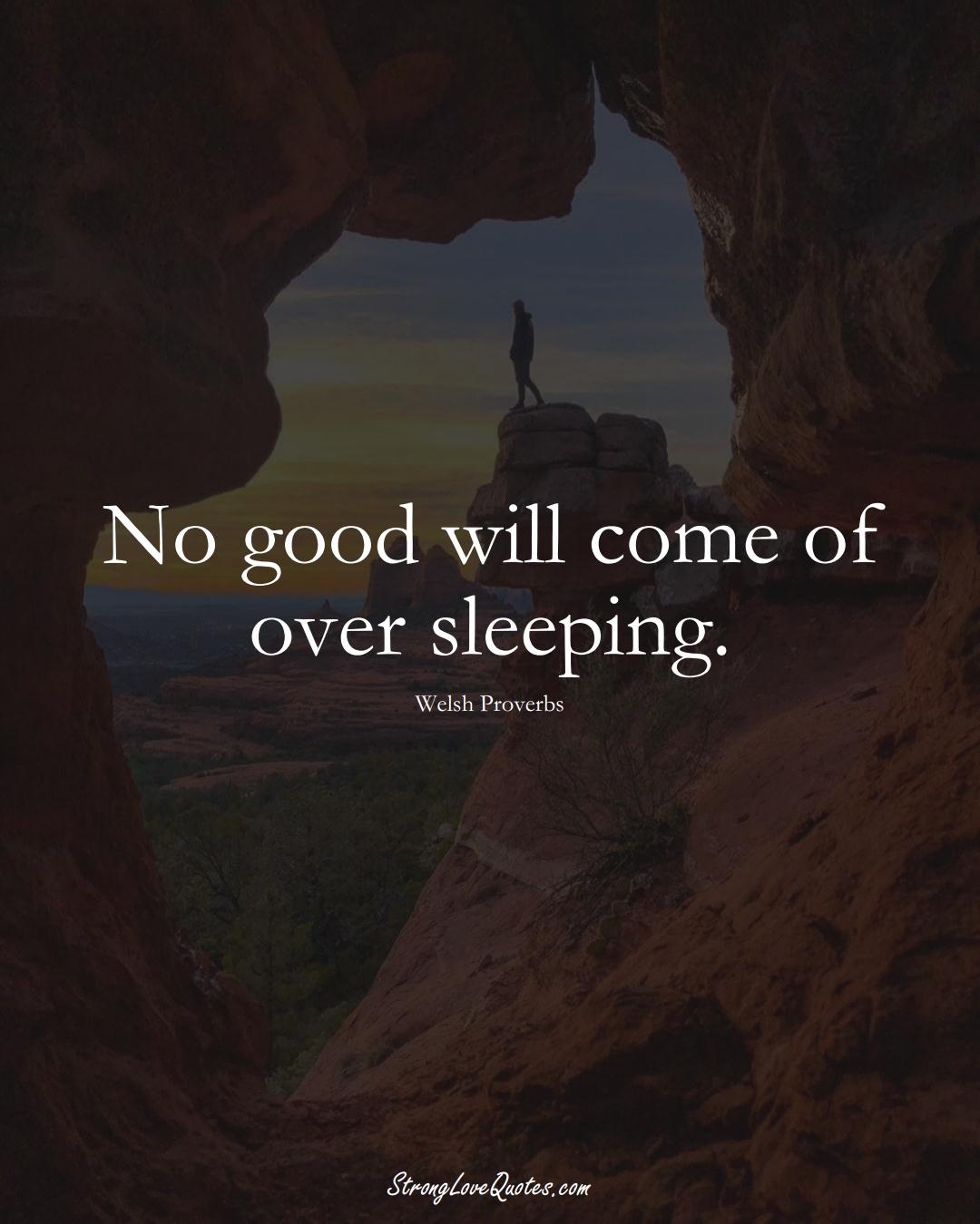No good will come of over sleeping. (Welsh Sayings);  #EuropeanSayings