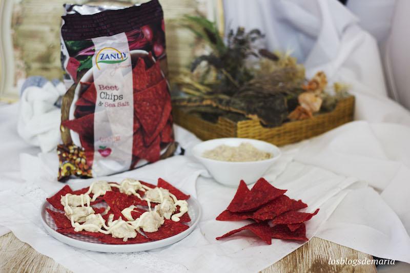 Chips de remolacha con palmito y atún