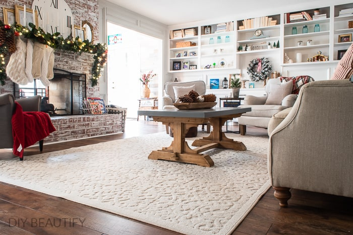 farmhouse living room decorated for Christmas