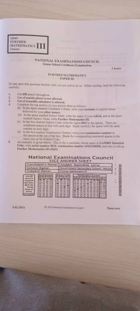 NECO 2021/2022 Further Mathematics Obj & Essay/Theory Questions and Answers is Out