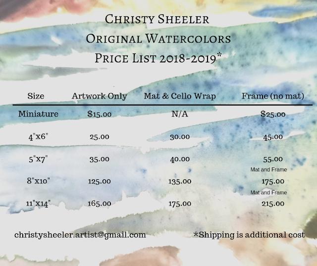 Price List 2018-2019 Christy Sheeler Watercolors