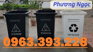 Thùng rác nắp kín 4 bánh xe, thùng rác 60L nhựa HDPE