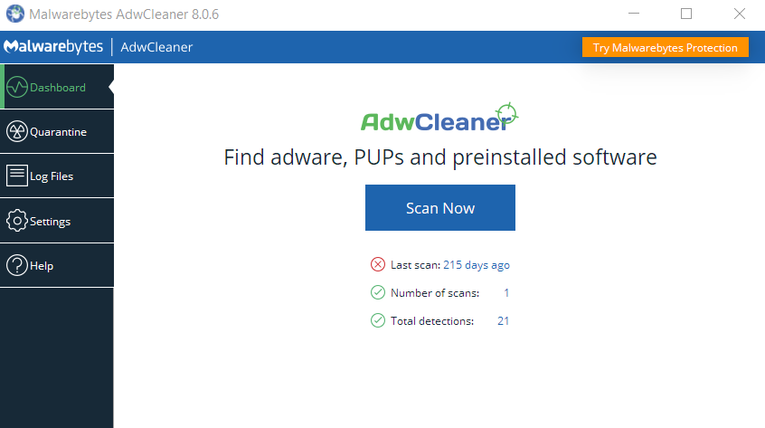 tampilan aplikasi Malwarebytes Adwcleaner