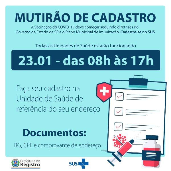 Mutirão de Cadastro para vacinação do Covid-19 em Registro-SP