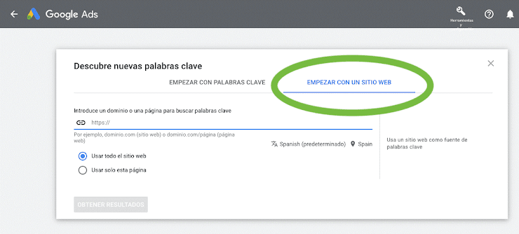 Palabras clave con Google Ads