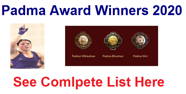 Complete list of Padma Award Winners of 2020