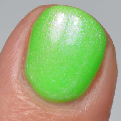 neon green nail polish with shimmer swatch