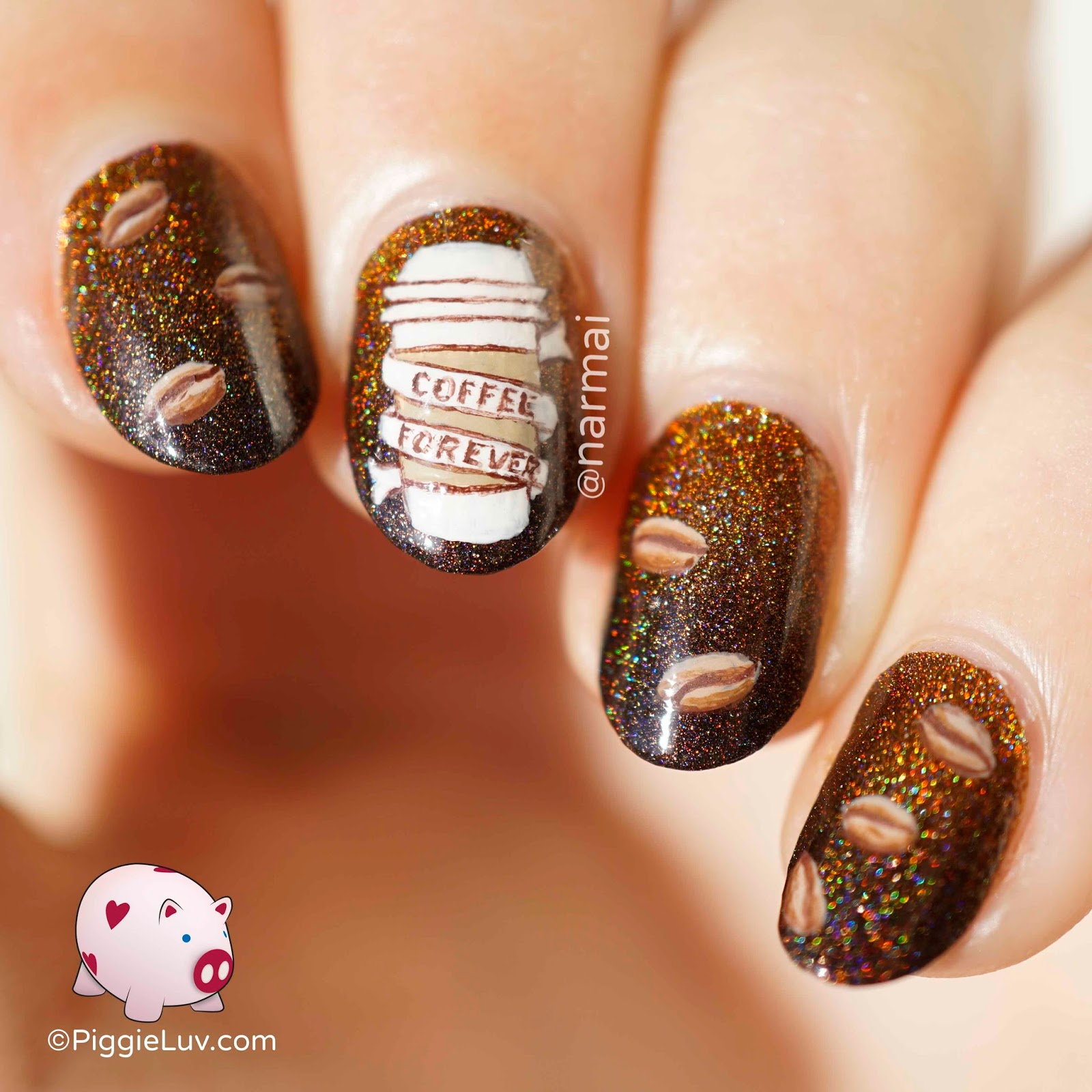 Piggieluv Coffee Forever Nail Art