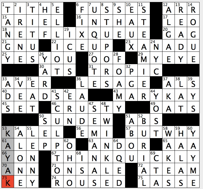 Rex Parker Does The Nyt Crossword Puzzle Sticky Leaved Plant That Feeds On Insects Tue 4 3 18 Gil Blas Writer Mag Mogul With Mansion Ben Adhem Leight Hunt Poem War Torn Syrian City