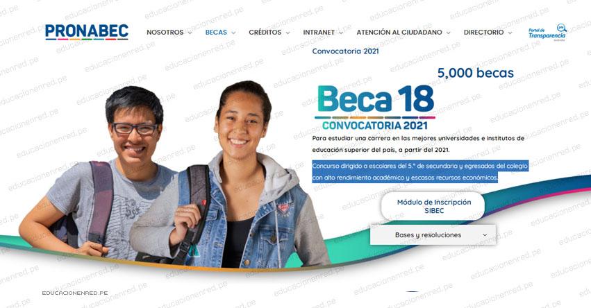 BECA 18: Requisitos para inscripción del 9 de Noviembre al 7 de Diciembre de 2020 (Bases del Concurso 2021) PRONABEC