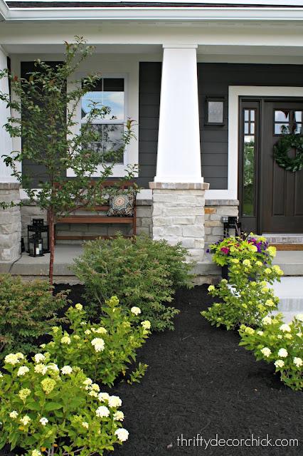 Dark gray house white trim