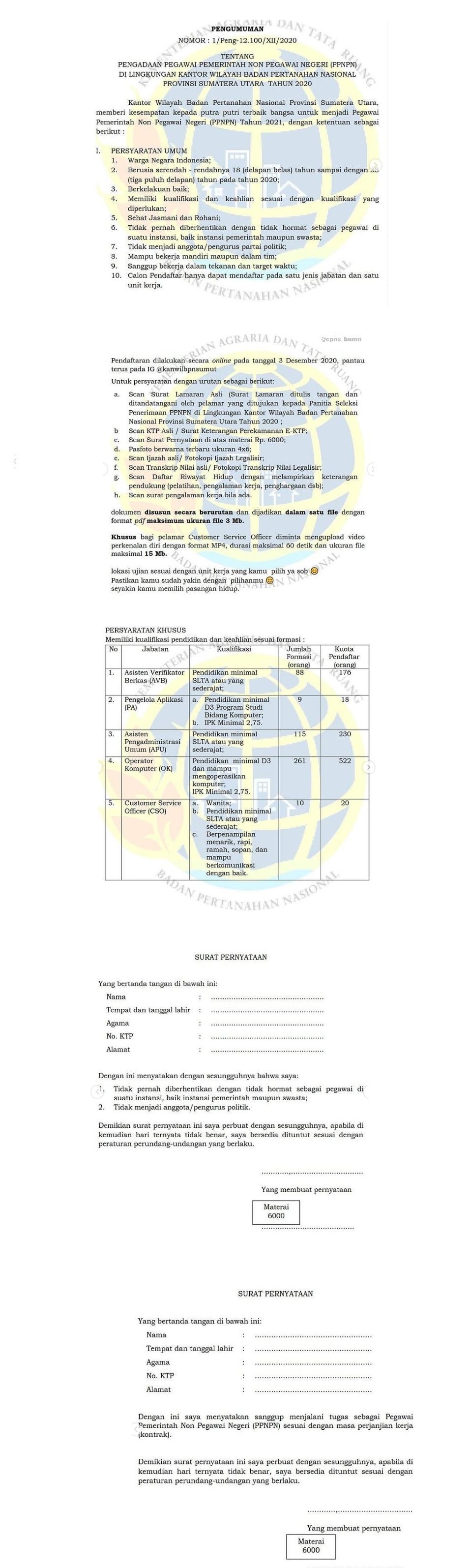 Lowongan Kerja Kantor Wilayah Badan Pertahanan Nasional Sumatera Utara 483 Posisi Tahun 2020