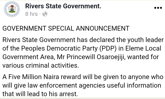 Governor Wike declares PDP youth leader wanted over alleged criminal activities