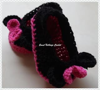 free crochet booties pattern, free crochet Minnie mouse booties pattern