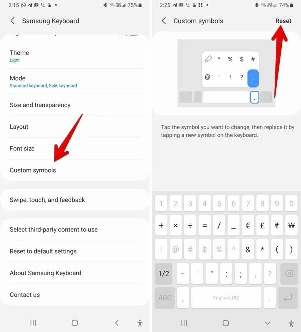 رموز إعادة تعيين لوحة مفاتيح Samsung