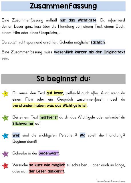 Übersicht für die Textsorte Zusammenfassung, Inhaltsangabe - für Grundschüler