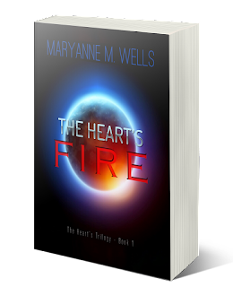 Red planet with a blue aura shines against a black background. Maryanne M. Wells. The Hearts Fire. Book 1 of the Hearts Trilogy.