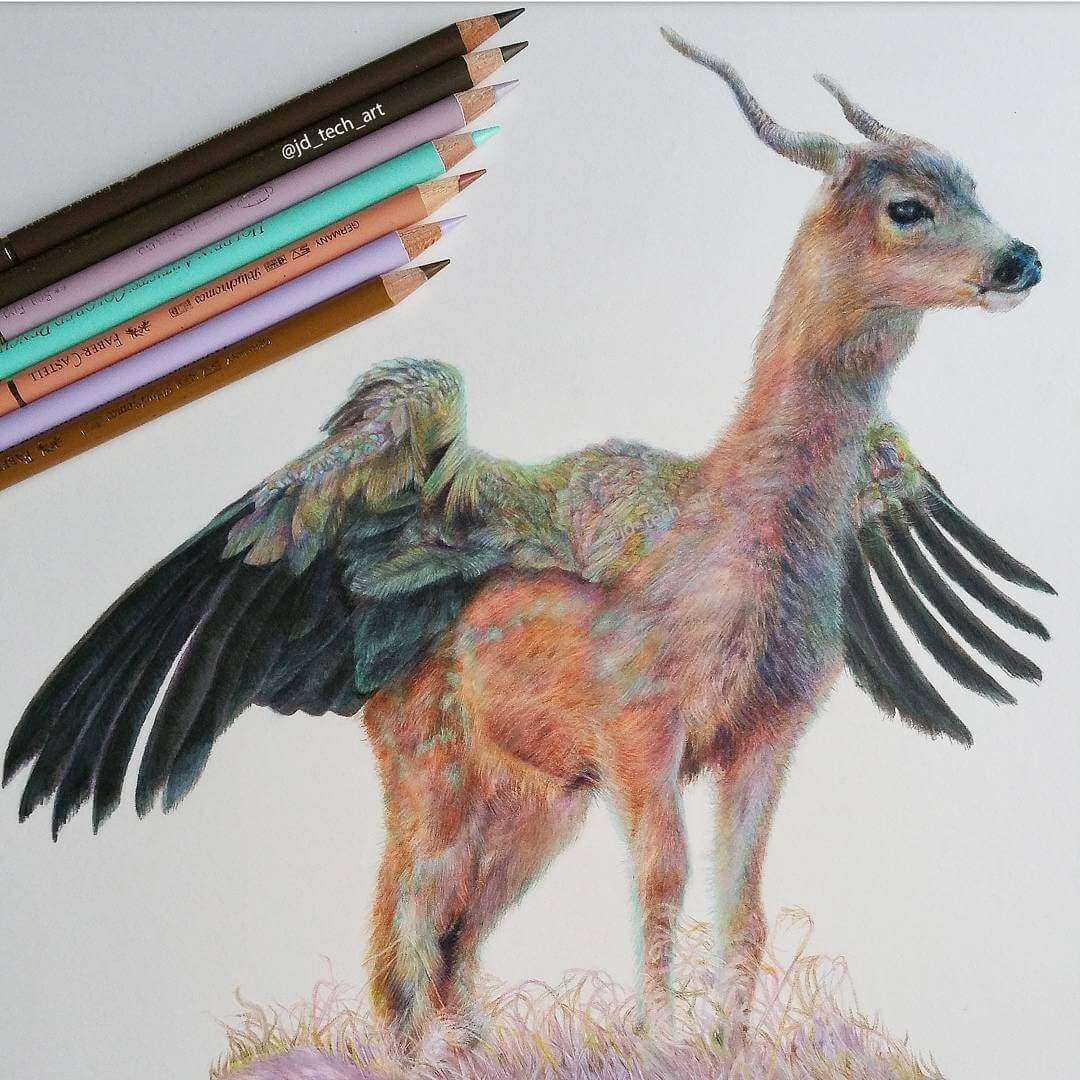 06-Deer-Vulture-Joshua-Dansby-Fantasy-Animal-Combination-Drawings-www-designstack-co