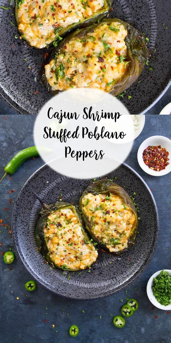 Cajun Shrimp Stuffed Poblano Peppers #Cajun #Shrimp #Stuffed #Peppers #Cheese #Grilled #Baked #Basil