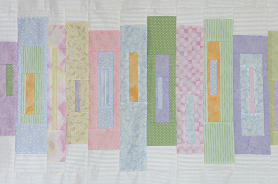 Detail of Rectangle Blocks from Mystery Quilt in Pastel Colors