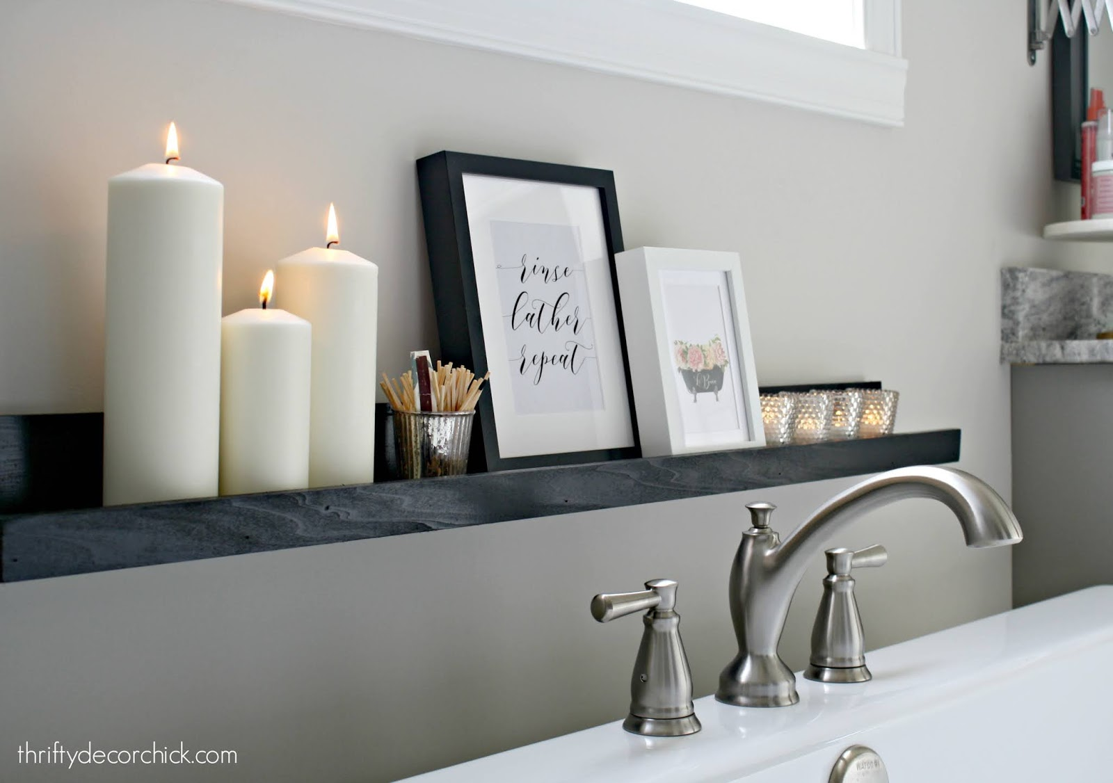 DIY spa ledge in bathroom