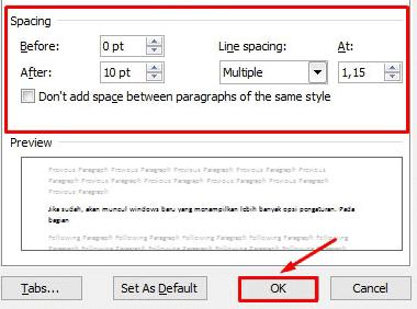 cara mengatur jarak dan baris ms word
