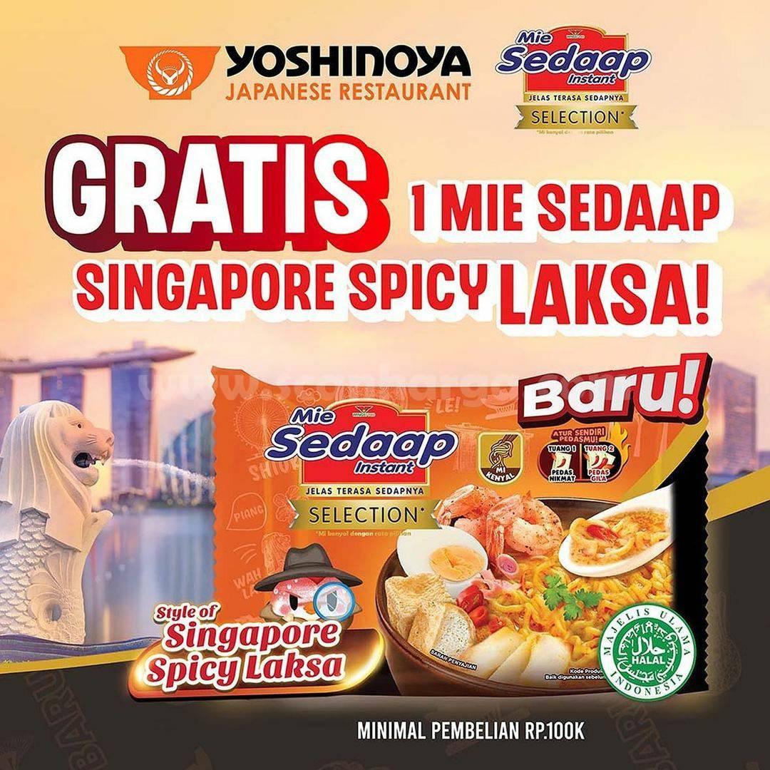 Yoshinoya Promo GRATIS Mie Sedaap Singapore Spicy Laksa